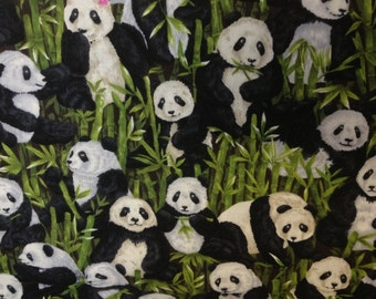 100 percent cotton fabric Black and White Pandas with Bamboo background