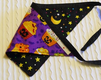 Dog Bandana with Halloween Cupcakes in Tie Style Sizes XS to XL
