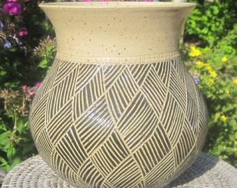 Handmade Vase with Carvings in Black