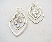 Rope Swing Earrings - silver statement earrings, hammered silver leaf earrings, silver chandelier earrings, silver aquamarine earrings, E14S