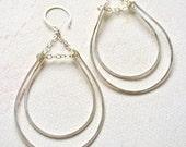 Hammock Earrings - silver dangle earrings, hammered silver teardrop earrings, silver statement earrings, aquamarine earrings, E12S