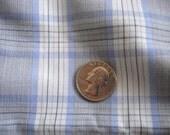 1 + Yards Vintage 1950s Plaid Blue Cotton Fabric