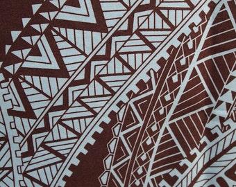 Fabric - Light Cotton Fabric light blue with brown tribal designs -  2 yds Single Piece