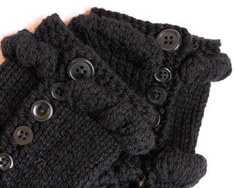 Handknit fingerless mittens with buttons