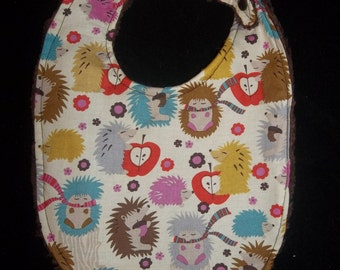 Hedgehog with brown chenille backing Bib