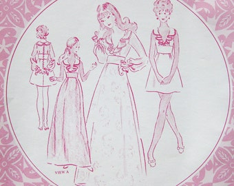 Vintage Sewing Pattern - Patterns Pacifica 3051 - Hawaiian MAXI DRESS with Ruffled Collar