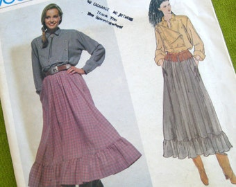 Vintage Vogue 2078 Ralph Lauren - Western Shirt and Country Skirt with Ruffle - Uncut FF // Size 12