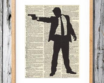 Secret Agent Man - Art Print on Vintage Antique Dictionary Paper - Spy, double agent