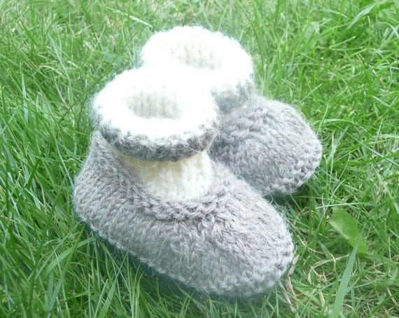 Knitting Pattern Baby All In One : Knitting PATTERN BABY Booties All in One Baby Shoes by ceradka