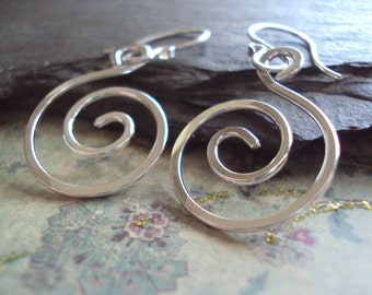 Hand Hammered Sterling Swirl Earrings,  Silver Spiral Earrings