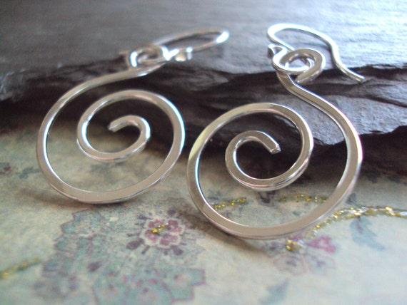 Hand Hammered Sterling Swirl Earrings,  Silver Spiral Earrings