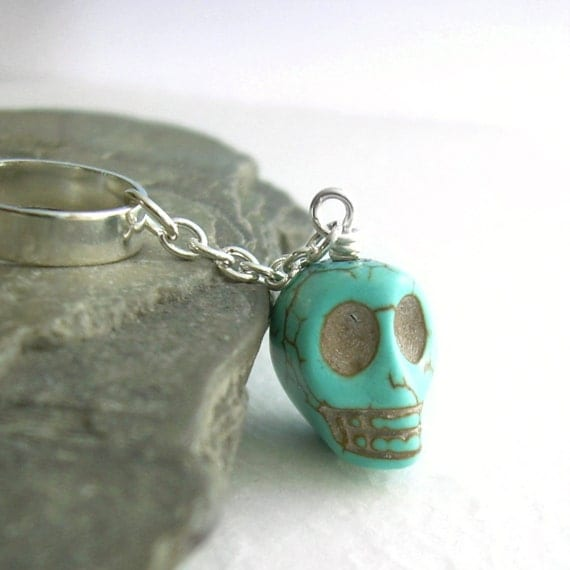Turquoise Skull Cartilage Earring: Stone Ear Cuff on Chain, Pastel Goth Jewelry
