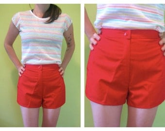 Dead Stock Vintage 70's Red High Waist SHORT Shorts