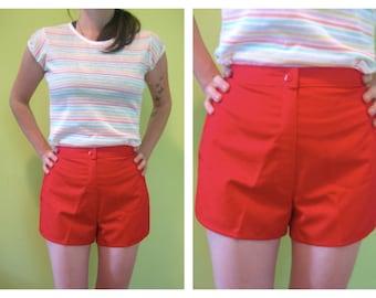 Dead Stock Vintage 70's Red High Waist SHORT Shorts