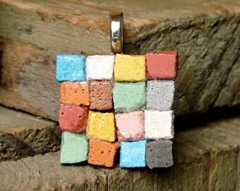Miniature Patchwork Quilt Mosaic Art Pendant