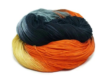 300 Yards Hand Dyed Thread Cotton Crochet Thread Size 10 3 Ply Halloween Black Gray Amber Yellow Orange Hand Painted Fine Cotton Yarn