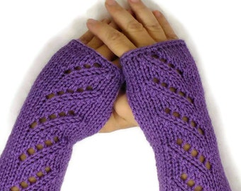 Knit Hand Warmers Lacey Purple Gloves Womens Winter Gloves Warm Handwarmers Cozy Gloves Texting Gloves Driving Gloves Fashion Gloves