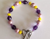 Yellow and Purple Crystal and Pearl Beaded Bracelet with Butterfly Clasp