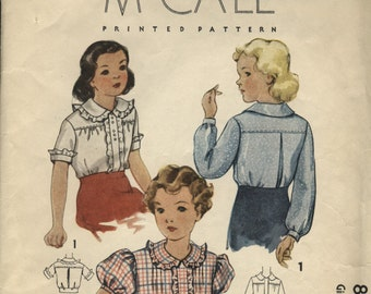 VINTAGE McCall 1930s 1935 Girls BLOUSE Pattern Size 10 Sleeve and Collar Options