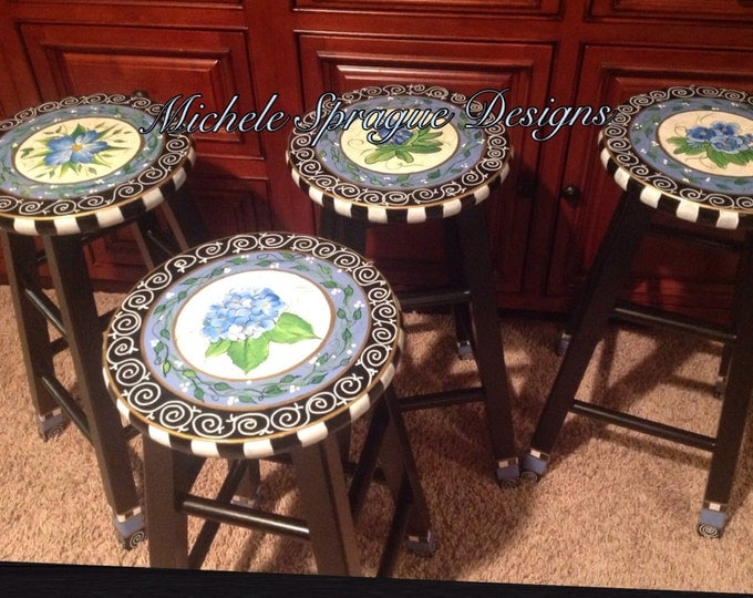 Whimsical Painted Furniture, Painted Bar Stool // Whimsical Painted Bar Stool // Painted Stool