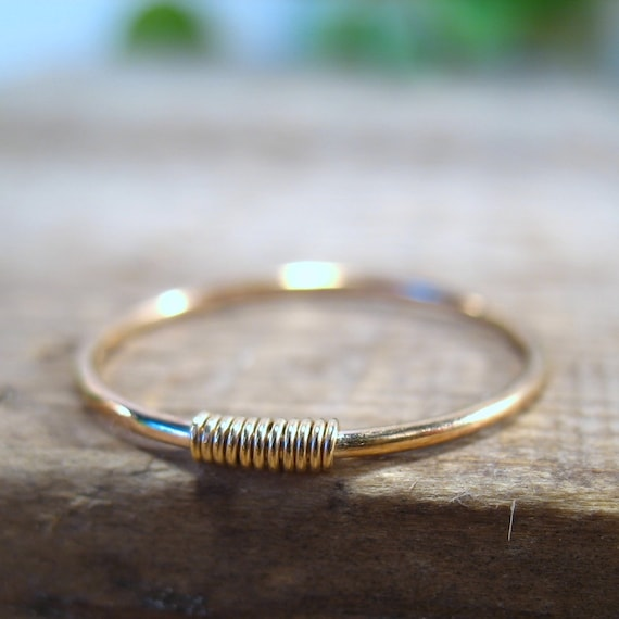 Gold Ring with Gold Wrap - Stacking Ring, Wrapped Ring, Pinkie Ring, Thumb Ring, Thin Gold Band, Gold Band Ring, Layering Ring, Delicate
