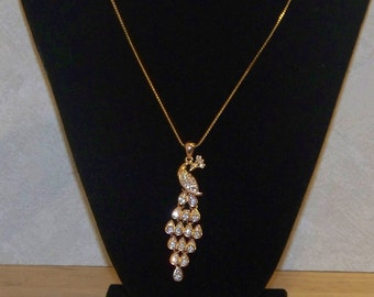 18K Gold Filled  Peacock Pendant With a 14K Gold filled chain Now Discounted