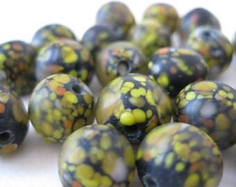 Black Yellow Orange Beads Glass Vintage