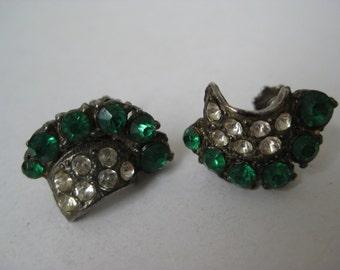 Green Rhinestone Earrings Screw Clear Vintage