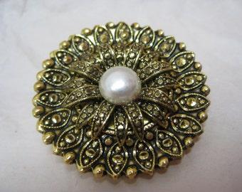Flower Pearl Gold Scarf Clip Vintage