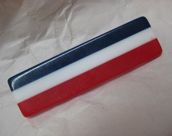 Red White Blue Brooch Plastic Vintage Pin France USA