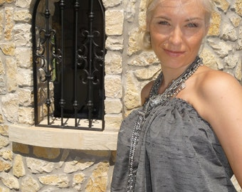 Balloon Tube TOP - Duiponi Silk - Pick your own COLOR - Made in ANY Size - Boutique Mia