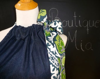 Pillowcase DRESS or TOP - Denim - Dear Stella fabric Sash - Made in ANY Size - Boutique Mia