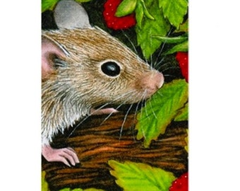 Fridge Magnet Print ACEO from my original painting Mouse 10 by Lucie Dumas
