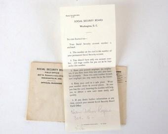 Vintage 1930's Social Security Letter Ephemera