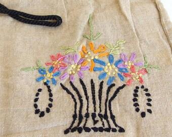 Vintage Embroidered Travel Shoe Storage Bag