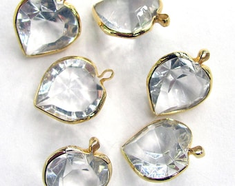 Vintage Lucite Crystal Heart Charms