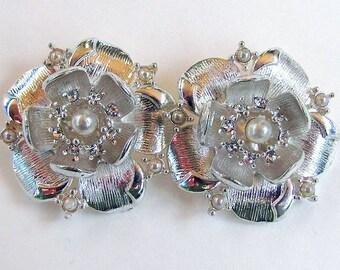 Rhinestone Pearl Flower Shoe Clips