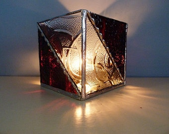 Elegant, Stained Glass, Candle Holder, Brown and Clear, Textured Glass