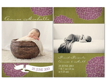 Baby Girl Birth Announcement - Photoshop Template for Photographers - PSD Files - Hydrangea Banner - CS0001b
