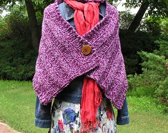 Maroon Cowgirl Shawl - A Beautiful Maroon-colored Shawl with Large Wooden Button