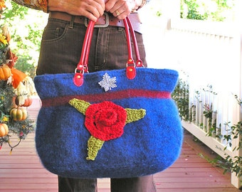 Mary Poppins - A Delightful Vibrant Blue Felted Purse