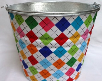 READY TO SHIP Extra Large Storage or Gift Pail in Ann Kelle Bright Argyle