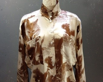 Vintage 80's Escada fox print silk blouse. Cream and rust. Size 42, XL