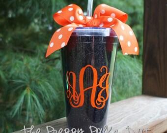 Black Glitter Halloween Monogram Tumbler Cup