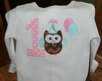 Owl 1st Birthday Bodysuit