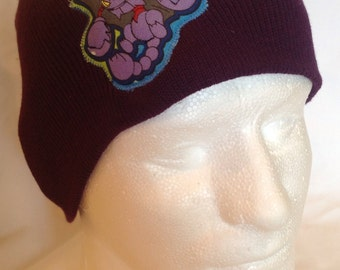 Purple Beanie Hat with Pokemon Glion  - made with upcycled Pokemon fabric