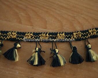 Elegant Black and Gold - 1 yard Vintage Tassels Fringe 70s 80s New Old Stock