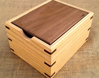 Ash Wood Recipe Card Box with Walnut Lid for 3x5 Cards