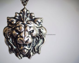 The Kingdom of Lions & Lionesses Necklace No. 1 - American Made Antique Sterling Silver Plated Brass Stamping - Insurance Included