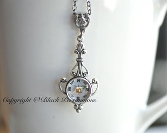 Compass Jolie Necklace - Working Compass - Made in USA Findings - Antique Silver
